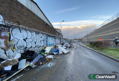 It's a disgusting sight and judging by the fact that graffiti has been sprayed on some of the dumped rubbish, at least some of it has been there quite a while.