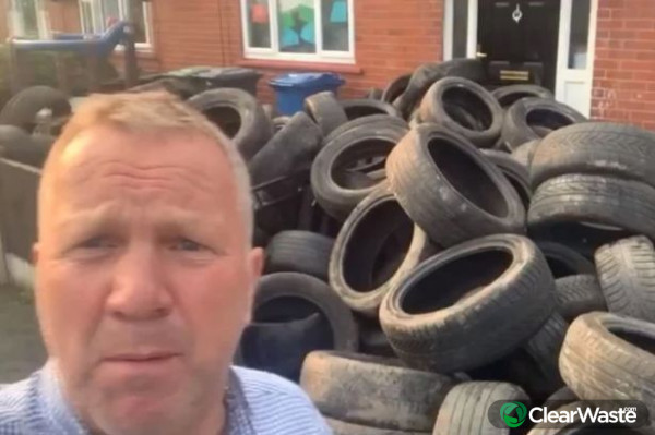 Image from: 'Fly-tip victim dumps tires in offenders front garden'