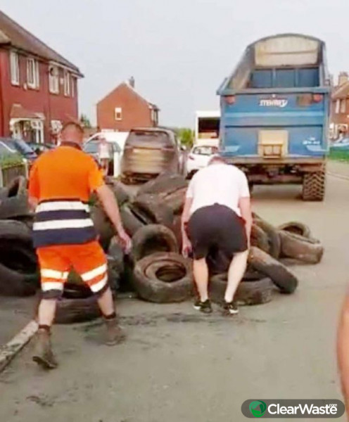 Image from: 'Man's revenge on 'flytipper' who dumped more than 400 tyres on his land'