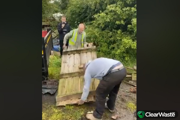 Image from: 'Farmer videos fly-tippers reloading dumped waste'