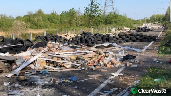Image from: 'Fly-tippers fill Newport road with tyres and rubble'