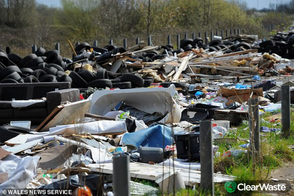 Image from: 'Shocking Google Earth images reveal Welsh dumping ground littered with piles of sofas, bathtubs and fridges'